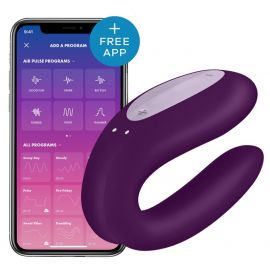 VIBROMASSEUR CONNECTÉ DOUBLE JOY VIOLET - SATISFYER