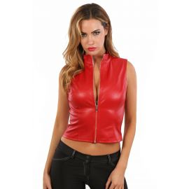 GILET ROUGE COL MONTANT SIMILI CUIR - SPAZM