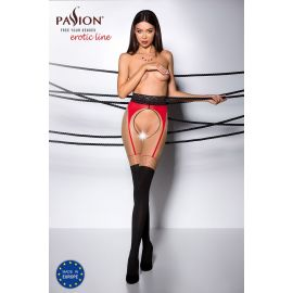 COLLANT OUVERT BEIGE-NOIR-ROUGE TI003 - PASSION