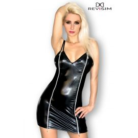 ROBE NOIR WETLOOK DOUBLE ZIP DEVANT - REVISIM